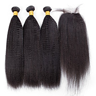4 Pieces Kinky Straight Human Hair Weaves Peruvian Texture 100grams 8inch to 30inch Human Hair Extensions