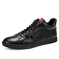 Men's Ankle Boots Fall / Winter Fashion Boots Leather Office & Carrer / Casual Flat Heel Black