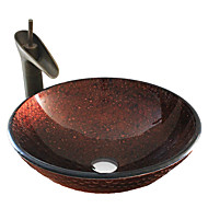 Antik T12*Φ420*H145MM Rundförmig Sink Material ist HartglasWaschbecken für Badezimmer / Armatur für Badezimmer / Einbauring für