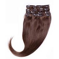 # 4 médio clipe browm na extensão do cabelo humano 14- 26 clipe no 7pcs cabelos lisos / set cabelo humano Remy para o branco&mulheres
