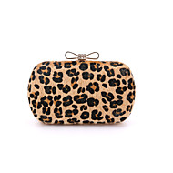 Women Suede /Formal / Event/Party / Wedding Evening Bag Fur Diamonds Bow Handbag Leopard Print Day Clutch