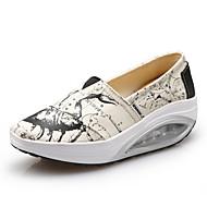 נשים-נעליים ללא שרוכים-קנבס-פלטפורמה-כחול אדום לבן-יומיומי-עקב שטוח