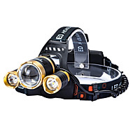 3LED Cree T6 Headlamp Lights Handsfree Flashlights/Torch 4800 lumens 4 Mode 18650 Adjustable Focus/Fixed Focus / Waterproof / Rechargeable / Impact