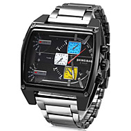 Men's Sport Watch Military Watch Dress Watch Fashion Watch Wrist watch Calendar Three Time Zones Punk Colorful Quartz Stainless Steel Band