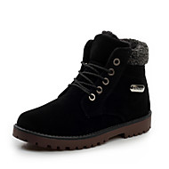 Men's Boots Fashion High Top Suede Boots Casual Warm Shoes Flat Heel Lace-up Black / Brown / Light Green Walking