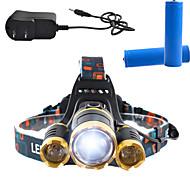 Osvětlení Čelovky LED 3000 Lumens Lumenů 4.0 Režim Cree T6 18650 Stmívatelná / Dobíjecí / Anglehead / Ultra lehkéKempování a turistika /
