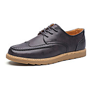 Men's Oxfords Fashion Bullock Shoes Casual Leather Shoes Flat Heel Lace-up Black / Brown / Purple Walking EU39-43