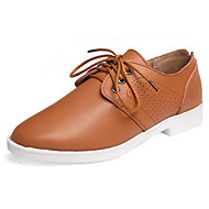 Women's Oxfords Spring Fall Mary Jane Cowhide Office & Career Casual Flat Heel Lace-up Yellow Red White Orange Walking