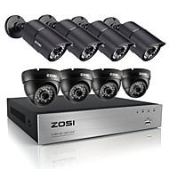 8pcs DVR zosi®hd 720p 8 canais sistema de CCTV 1200tvl de vídeo ao ar livre sistema de câmera de segurança à prova de intempéries do IR