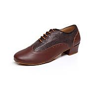 Obyčejné-Pánské-Taneční boty-Latina-Kůže-Nízký podpatek-Černá / Hnědá / Červená
