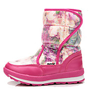 Girl's Boots Winter Comfort Leather Outdoor Casual Flat Heel Magic Tape Black Purple White Gray Peach Hiking Walking