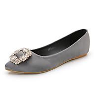 Women's Flats Spring Summer Fall Comfort Silk Casual Flat Heel Crystal Black Blue Pink Purple Gray Beige Walking