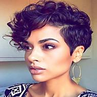 σύντομη κυματιστά μαλλιά μαύρο χρώμα συνθετικών περούκες για τις γυναίκες