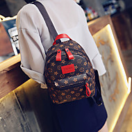 Casual Backpack Women PU Beige Red