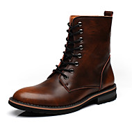 Men's Boots Spring Fall Winter Leather Casual Lace-up Gray Dark Brown Burgundy