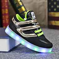 Sneakers-Læder-Light Up Sko-Drenge-Sort Blå-Fritid-Flad hæl
