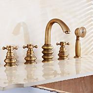 handshower incluído com válvula de cerâmica duas alças dois furos para bronze antigo, chuveiro torneira / torneira da banheira