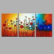 Kézzel festett Landscape / Virágos / Botanikus Festmények,Modern / Rusztikus Három elem Vászon Hang festett olajfestmény For