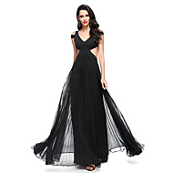 2017 TS Couture® Prom Formal Evening Dress A-line V-neck Floor-length Chiffon / Jersey with Pleats