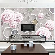 Floral / Art Deco / 3D Papel de Parede Para Casa Contemporâneo Revestimento de paredes , Outro Material adesivo necessário Mural , quarto