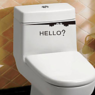 Removable Black HELLO Toilet Stickers Bathroom Wall Stickers