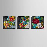 vászon Set Virágos / Botanikus Európai stílus,Három elem Vászon Négyzet Print Art fali dekoráció For lakberendezési