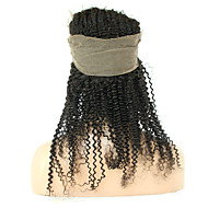 360 frontal Kinky Curly Cheveux humains Fermeture Brun roux Dentelle Française 75g-95g gramme Moyenne Cap Taille