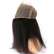 360 Frontal Kinky Glatt Menneskehår stenging Medium brun Fransk blonde 75-95 gram Gjennomsnitt Størrelse på lue