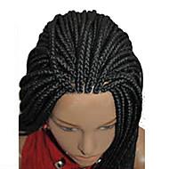 cor preta trança peruca rendas frente perucas sintéticas trançado resistente ao calor longo