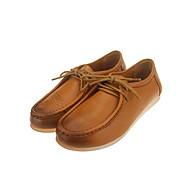 נשים-נעלי אוקספורד-עור-בלרינה-שחור / צהוב / אדום-שטח / משרד ועבודה / קז'ואל-עקב שטוח