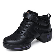 Non Customizable Women's Dance Shoes Leatherette Jazz Sneakers Flat Heel Beginner Black White