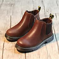 Boys' Boots Comfort Cowhide Casual Flat Heel Black Brown