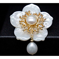 Women's Brooches Pearl Shell Gold Gold/White Jewelry Party Daily Casual