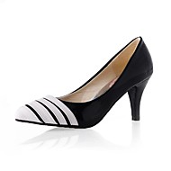 Women's Heels Spring Summer Fall Winter Comfort Patent Leather Office & Career Dress Party & Evening Cone Heel Black White Walking