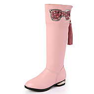 Girls' Boots Comfort Combat Boots Leather Winter Casual Comfort Combat Boots Bowknot Flat Heel White Black Ruby Blushing Pink Flat
