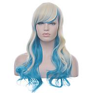 Anime cosplay perruque lolita longues femmes ondulées de haute qualité blond avec ombre chaleur bleu résistant perruque synthétique style