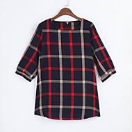 Women Ladies Blouse Plaid Print O Neck 3/4 Sleeve Plus Size Casual Loose Vintage Shirt Tops