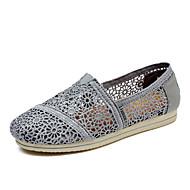 נשים-נעליים ללא שרוכים-תחרה-נוחות-שחור / לבן / אפור-קז'ואל-עקב שטוח