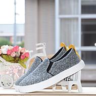 לבנות-נעליים ללא שרוכים-קנבס / נצנצים-נוחות-שחור / לבן-קז'ואל