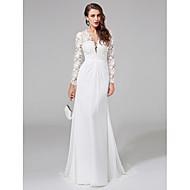 Lanting Bride® Sheath / Column Wedding Dress Sweep / Brush Train V-neck Chiffon / Lace