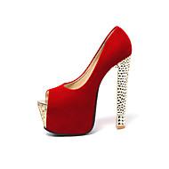 נעלי נשים-בלרינה\עקבים-דמוי עור-עקבים / נעלים עם פתח קדמי / פלטפורמה-שחור / אדום-חתונה / שמלה / מסיבה וערב-עקב עבה