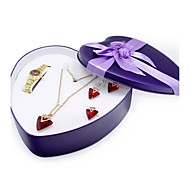 Women's Fashion Watch Alloy Quartz Rhinestone Gold Band Bracelet Watch Necklace Earrings Jewelry Set Gift