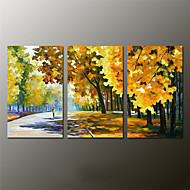 Ručně malované Krajina / Abstraktní krajinka olejomalby,Moderní Tři panely Plátno Hang-malované olejomalba For Home dekorace
