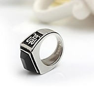 Personalized Gift Rings Men's Stainless Steel Silver / Black