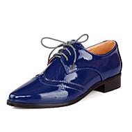 נשים-נעלי אוקספורד-PU-רצועת קרסול נוחות-שחור כחול אדום-משרד ועבודה יומיומי ספורט-עקב נמוך