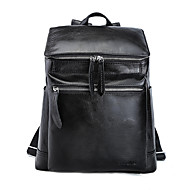 Sports Casual Outdoor Shopping Backpack Unisex Cowhide Black