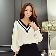 Feminino Camisa Social Informal / Casual / Férias Fofo / Moda de Rua / Sofisticado Primavera / Outono,Estampa Colorida Branco / Preto