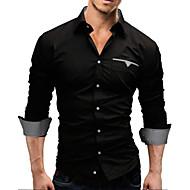 Effen-Informeel / Werk / Formeel-Heren-Katoen / Katoenmix-Overhemd-Lange mouw-Zwart / Rood / Wit