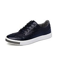 Men's Oxfords Spring Fall Platform Nappa Leather Casual Platform Lace-up Black Blue Red Others