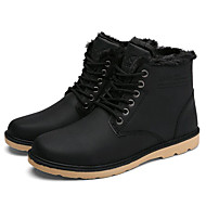 Men's Boots Spring Fall Winter Comfort Leatherette Outdoor Office & Career Casual Low Heel Lace-up Black Khaki Walking